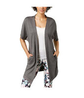 New Ideology Womens Open-Front Cardigan, Charcoal Heather, Medium