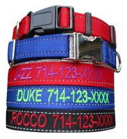 REFLECTIVE Customized Personalized Embroidered Dog Adjustable Nylon Dog Collars