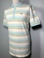 Mens Lacoste Blue Beige White Striped Polo Shirt Size L *Exclusive* 9-554
