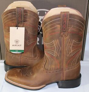 ARIAT Sport Wide Sqaure Toe Men's Western Boot, Distressed Brown, 10010963