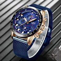 Lige Fashion Mens Watches Top Brand Luxury Wristwatch Quartz Waterproof Sport