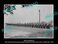 OLD LARGE HISTORIC PHOTO OF DETROIT MICHIGAN, THE POLICE MOTORCYCLE SQUAD c1950