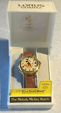 Vintage Lorus Quartz Disney Mickey Mouse IT'S A SMALL WORLD Musical Wrist Watch