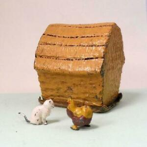 Vintage Lead Farm Johillco HAYSTACK with Britains CHICKEN + CAT 1920s - 1950s