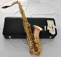 Professional Rose Brass new Tenor Saxophone Sax High F# Metal Mouth Leather Case