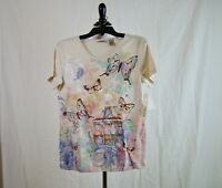 Fresh Women's Butterfly Embellished Tee Shirt Short Sleeve - NWT - Size S Small