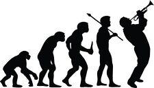 "TRUMPET PLAYER EVOLUTION Vinyl Decal Sticker-6"" Wide White Color"