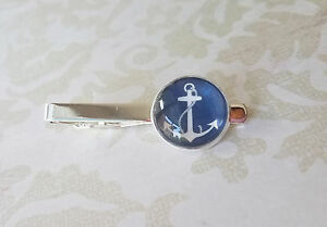 18 mm Navy Blue And White Anchor   tie clip ,Mens Accessories