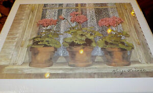 """Watercolor geraniums on window sill by Marge Brandt, 8"""" x 10"""", signed by artist"""