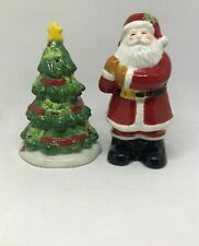 Ceramic Hand Painted Santa Claus And Christmas Tree Salt Pepper Shaker