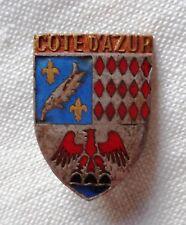 Insigne Blason ancien émail COTE d'AZUR h. 21 mm ORIGINAL France pin badge