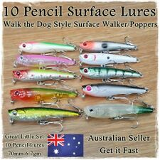 10 Pencil Fishing Lures Stick Bait Popper Topwater Hardbody Surface Fishing Lure