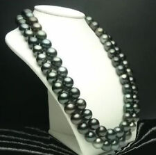 36INCH HUGE AAA+ 10-11MM PERFECT ROUND SOUTH SEA BLACK PEARL NECKLACE 14K CLASP