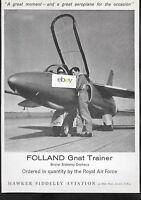 HAWKER SIDDELEY FOLLAND GNAT 2 SEATER TRANSONIC RAF AIR FORCE ORDERED 1960 AD