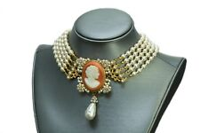 Collectible 1950's Miriam Haskell Victorian Style Cameo Pearl Necklace