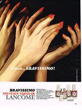 PUBLICITE ADVERTISING 044  1975   LANCOME  BRAVISSIMO  les nouveaux vernis