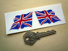 """Britannique Union Jack Drapeau Autocollants ondulées 2 """" 50mm paire Grande-Bretagne Royaume-Uni"""