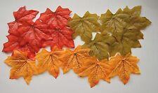 25 Tela Suave Hojas 70mm x 70mm Rojo/Verde/Amarillo Colores Otoñales NUEVO