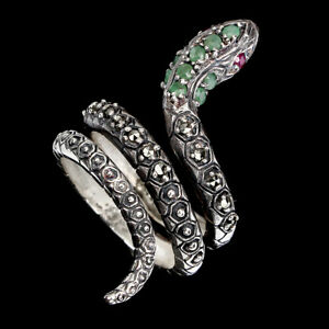 Unheated Round Emerald 2mm Ruby Marcasite 925 Sterling Silver Snake Ring Sz 9