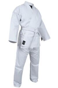 KARATE UNIFORM GI FOR ADULTS & KIDS WHITE FREE BELT SET MARTIAL ARTS UFC MMA