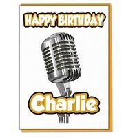 Personalised Singing Singer Microphone Birthday Card - Boys Girls Mens Ladies