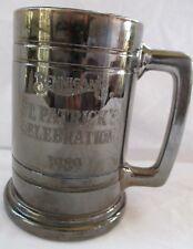 BENNIGAN'S ST. PATRICK'S CELEBRATION 1989 SILVERED FINISH GLASS BEER STEIN