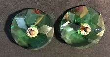 Pair of Antique Green Faceted Cut Glass Curtain Tie Backs ~ YGF