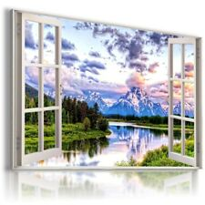 WINTER MOUNTAINS RIVER 3D Window View Canvas Wall Art Picture W576 MATAGA .