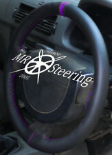 FOR VAUXHALL VECTRA C 2002-2008 REAL LEATHER STEERING WHEEL COVER + PURPLE STRAP