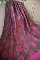 CANDY PINK BROWN PAIR CURTAINS,55WX87D,SWIRL PATTERN,EYELET,UN LINED,HUGE,LONG