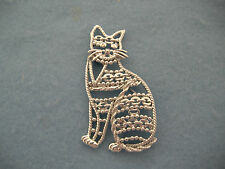 Metal Cat Pin-Brooch-Signed Vintage Silver Toned