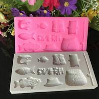 Fisherman Silicone Cake Fondant Decor Sugarcraft Mould Chocolate Baking Mold DIY