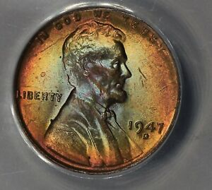1947-D  .01  ANACS  MS 64 RB  Lincoln Head Cent, Lincoln One Cent