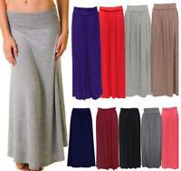Women Ladies Fold Over Turn Up Waist Pleated Viscose Jersey Long Maxi Skirt 8-14