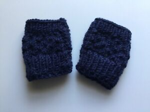 Baby mittens Fingerless Thumb hole Blue/ navy Wool Hand knit Unisex New