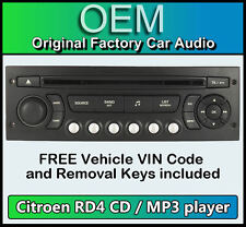 Citroen C3 car stereo MP3 CD player Citroen RD4 radio + FREE Vin Code and Keys