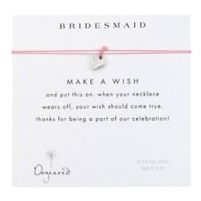 Dogeared Bridesmaid Gift Heart Necklace with Silk Cord Sterling Silver SS Charm