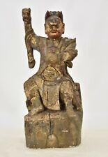Antique Chinese Red & Gilt Wooden Carved Statue of Warrior, 19th c