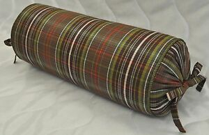 Corded Bolster Pillow made w Ralph Lauren Rock River Green & Brown Plaid Fabric