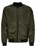 Only & Sons Mens Bomber Jacket Casual Long Sleeve Zipper Classic Coat Outerwear