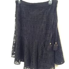 FIGUE Skirt 2 Black Onyx Lace Mariana Flip A Line Tassel Women's Cotton $1317