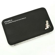 Angal Imported Fashionable Women Long PU Wallet Coin Purse Cellphone Pouch Black