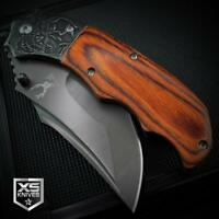 KILLER COWBOY Cherry Wood SKULL Handle BALL BEARING Spring Assisted Pocket Knife