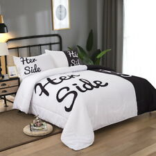 His/Her Side Lover Black&White Doona/Quilt/Duvet Comforter King Size Bedding New