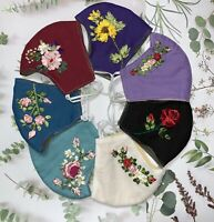 Handmade Ribbon Embroidered -Reuseable-Washable Facemask, Linen fabric, 3 layers
