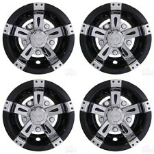 "Universal 10"" Golf Cart Hub Cap Wheel Cover, Vegas Chrome / Black Set of 4"