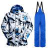 Mens Outdoor Waterproof Ski Snow Jacket + Pants Snowboard Bibs Snowsuit Suit