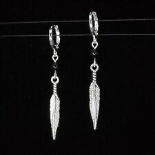 *SJ1* 3D Feather Charm Onyx Sterling Silver Hoop Leverback Dangle Earrings
