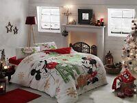Disney Bettwäsche Set 4 tlg 200x220 Minnie und Mickey Mouse Bettlaken Bettbezug