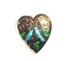 """l Love U w/ Lovebirds Heart Shaped Metal Shank Button 5/8""""x3/4"""" Birds on Heart"""